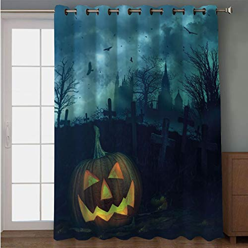 Joy2016 Blackout Curtains for Patio Sliding Door, Extra Wide Draperies for Double Window, Thermal Insulated Energy Efficiency Blackout Curtains for Bedroom Decor, 108 Inch Wide x 84 Inch Length ()