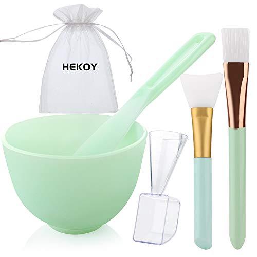 [NO Plastics] HEOKY DIY Silicone Mask Mixing Bowl Set Face Mask Brush Mask Bowl Mud Clay Mask Applicator Brush Spatula Liquid Powder Measuring Cup 5 in 1