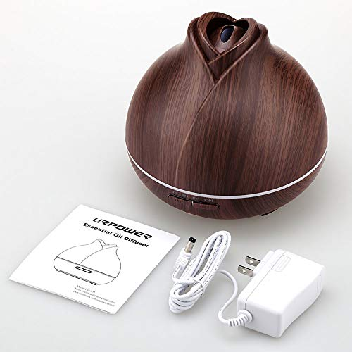 URPOWER 400ml Wood Grain Running 10 Hours Aromatherapy Diffuser for Essential Oils with 2 Mist Modes 4 Timer Setting Whisper Quiet Humidifiers for Bedroom Home Office