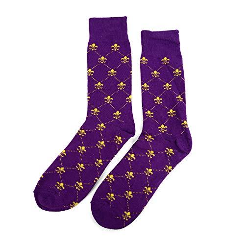 Men's Fleur de Lis Diamond Dotted Line Premium Cotton Dress Casual Crew Socks (Purple)