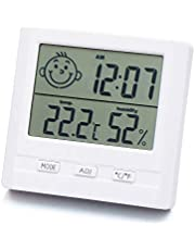 REDPINGUO-AU Digital Hygrometer Thermometer Indoor Humidity Temperature Time Monitor with Large LCD Display