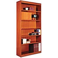 Alera BCS67236MC Square Corner Wood Bookcase, Six-Shelf, 35-5/8w X 11-3/4d X 72h, Medium Cherry