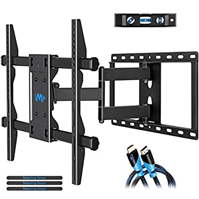 Mounting Dream TV Wall Mount Bracket for 42-70 inch Flat Screens, Full Motion TV Mount with Swivel Articulating Arms, Max VESA 600x400mm and 100 LBS, Fits 16'', 18'', 24'' Wood Studs