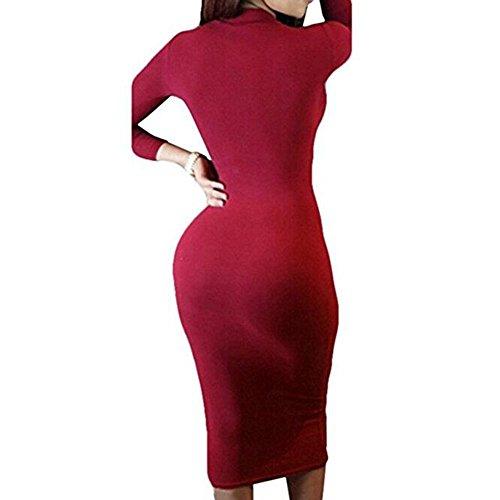 de del largo cuello Bodycon las vestido alto del del Juleya del Rojo del Vestido Bodycon mujeres cuello vendaje del abrigo del atractivo q5TSw5x