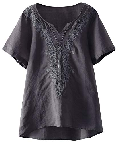 (Mordenmiss Women's Embroidered Blouse Tunic V-Neck Linen Tops Short Sleeve Hi-Low Hem Shirt (L,Gark Gray))