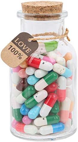 Capsule Message Pills100 Stuks Capsule Letters Message in a Bottle Glas Bericht Wishing Bottle Schattig Lachend Gezicht Capsule Berichtenpotten voor Vriend Vriendin Liefhebbers