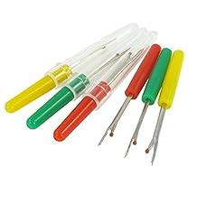 6 Pcs Green Yellow Red Plastic Handle Sewing Stitch Thread Unpicker Seam Ripper