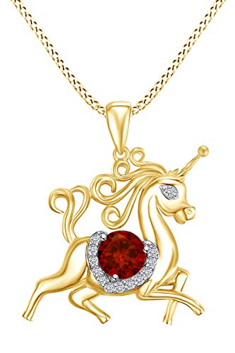 AFFY Round Shape Simulated Garnet & White Cubic Zirconia Unicorn Horse Pendant Necklace in 14k Yellow Gold Over Sterling Silver ()