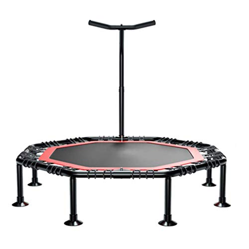LXDDB Mini Fitness Trampoline with Adjustable T-bar Stability Handle, Foldable Exercise Trampoline for Adults or Kids, Aerobic Bouncer Trampoline for Gym/Home, Max. Load 250kg with Suction - Stakes T-bar