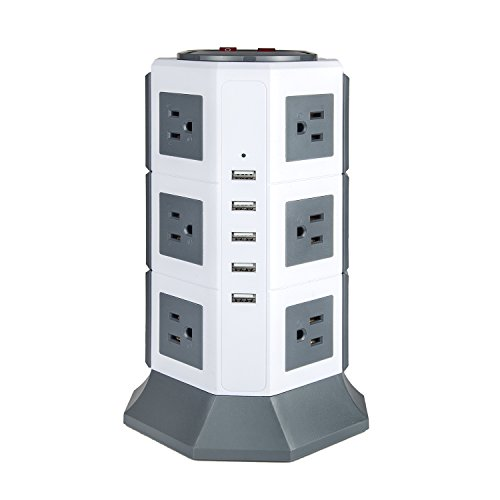 Surge Protector with USB Power Strip 12-outlets Oteck Advanced 5USB Ports Tower Extension Cord with Multiple Outlets 4.5A Max Output 6.5ft Cord Grey