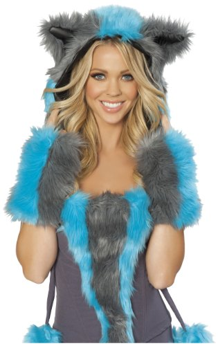 J Valentine Cat Costume (J. Valentine Women's Chester Cat Hood, Blue/Grey, One Size)