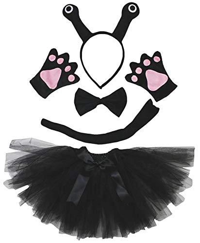 Petitebella 3D Headband Bowtie Tail Gloves Tutu Unisex Children 5pc Girl Costume (3D Black Snail) ()