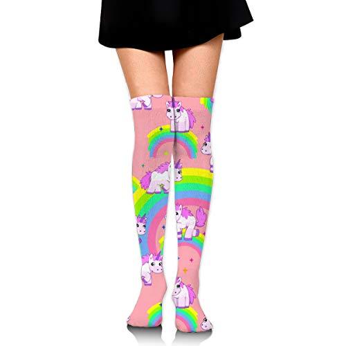 YINLAN Fashion Women Over Knee Long Socks, Thigh High Stockings Leg Warmer, Spring Fall Winter Cute Colorful Rainbow Unicorn Girls Leggings