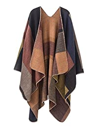 Urban CoCo Women's Fashion Retro Flower Printed Scarf Poncho Shawl Cape (Khaki)