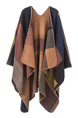 (Urban CoCo Women's Color Block Shawl Wrap Open Front Poncho Cape (Series 1-khaki))