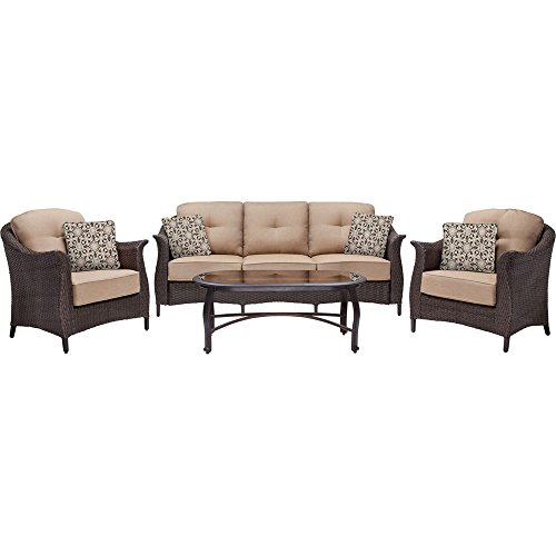Hanover Gramercy 4-Piece Outdoor Wicker Patio Set, Brown/Tan (Oval Wicker Outdoor Furniture)