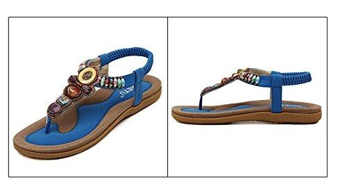 Newyork Bieden Winkel Vrouwen Bohemen Sling Sandalen Bloem Kralen Yoga Flip Flop Flats Slingback Thong Schoenen Retro Blauw
