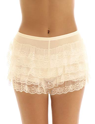 dPois Womens Stretchy Layered Lace Trim Shorts Hot Pants Leggings Tights Pettipants Modal Underpants Underwear Nude One Size ()