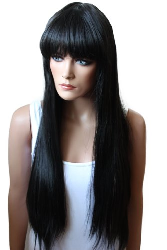 PRETTYSHOP Unisex Full Wig Long Hair 90cm Straight Heat-Resistant Jet black # 1B -