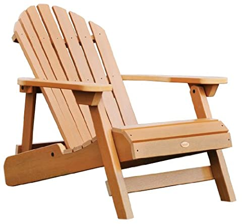 Highwood Hamilton Folding and Reclining Adirondack Chair, Adult Size, Toffee - Classic Collection Adirondack Deck Chair