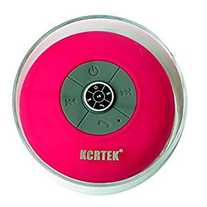 KCRTEK Portable Bluetooth Waterproof Shower Speaker,Bluetooth Bathroom speaker With Built-in hands-free for Apple Iphone 6 5 5s 5c Ipod Ipad Samsung Galaxy Note 4 3 S5 S4 S3 Nokia and Other Android Cell Phones and Tablet Pink color
