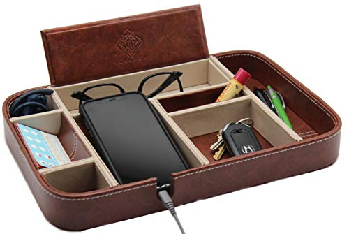 Makuzo EDC Tray, Dresser top Organizer, Valet Tray for Men and Women, nightstand Organizer, Table Organizer, Charging Station, Dresser Tray, catchall Faux Leather 8 compartments
