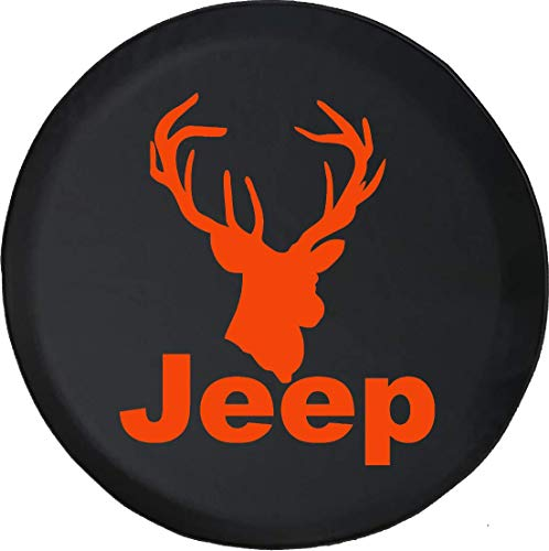 (Jeep Tire Cover for Spare Tire Jeep Big Buck in Rut Whitetail Deer Wildlife Edition Black Custom Size)