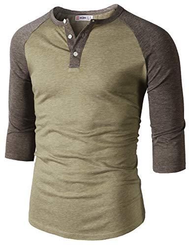 H2H Mens Casual Slim Fit Raglan Baseball Three-Quarter Sleeve Henley T-Shirts HEATHERBEIGE US M/Asia L (CMTTS0229)