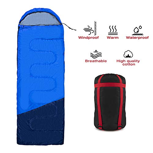 FLYSBA Sleeping Bag, Waterproof Bags Perfect for Backpacking, Camping, Or Hiking, Lightweight and Compact, Great for 3 Season Warm & Cool Weather, Indoor & Outdoor Use