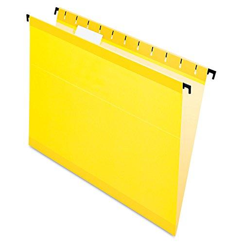 Pendaflex SureHook 615215YEL Poly Laminate Hanging Folders, Letter, 1/5 Tab, Yellow, -