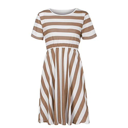 Yxiudeyyr Women's Casual Short Sleeve Striped Empire Waist Swing Midi Dress with Pockets T Shirt Dress Coffee