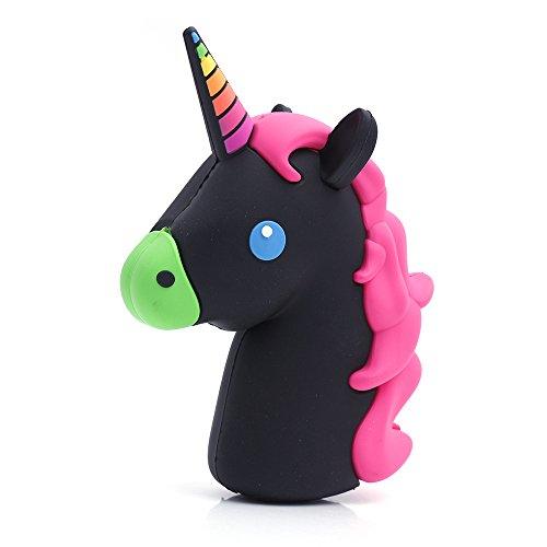 """iProtect Emoji Powerbank 2000 mAh Chargeur de batterie de secours """"Licorne noir et rose"""" Design - Pour Smartphones et autres appareils dotés d'une prise USB - Est inclus le câble USB"""