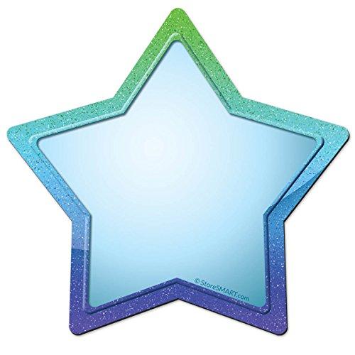 StoreSMART Write-On Star Magnets - 10-Pack - Light Blue Center, Blue/Green Border - STAR5-B-10