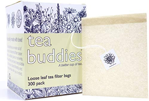 Tea Buddies Loose Tea Filter Bags, Eco-Friendly Disposable Tea Infuser with Drawstring - Fill Your Own Empty Loose Tea Bags - Bonus Free Recipes!