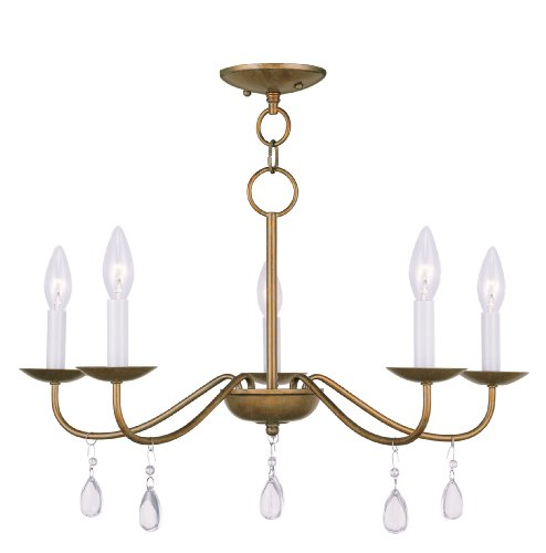 Livex Lighting 4845-48 Mercer 5-Light Chandelier, Antique Gold Leaf