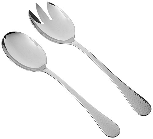 Ginkgo International Hammered Finish Kitchen Tool, 2-Piece Stainless Steel Salad Server Set, 10-1/2-inch