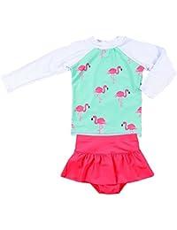Baby Girls Kids 2Pcs Long Sleeve Flamingo Swimsuit Rash...