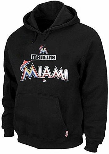 Majestic Miami Marlins MLB Therma Base Hoodie Men's Black Big & Tall Sizes (2XT) ()