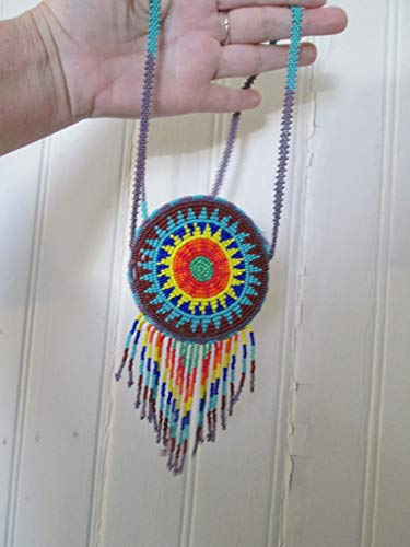 beaded turquoise brown yellow red orange round star medallion circle disc Guatemala central american Native starburst medicine bag stash pouch necklace southwest Aztec Indian design Ethnic beads bead