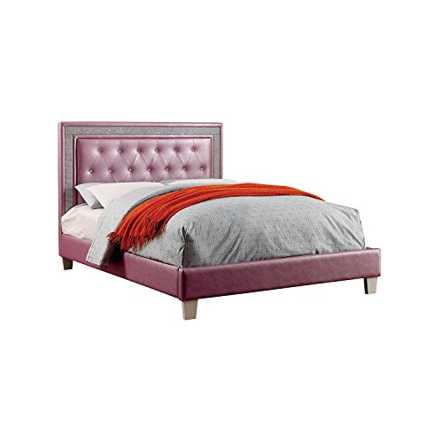 HOMES: Inside + Out IDF-7217PR-F Elmar Tufted Leatherette Youth Bed, Full, Purple