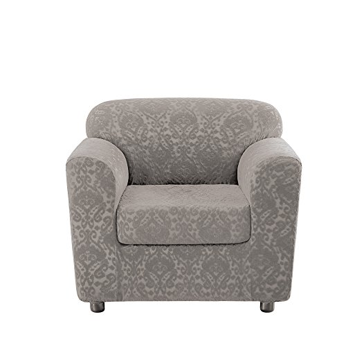 Slipcovers Patterned (Sure Fit Stretch Ikat Chair Slipcover - Silver (SF46974))