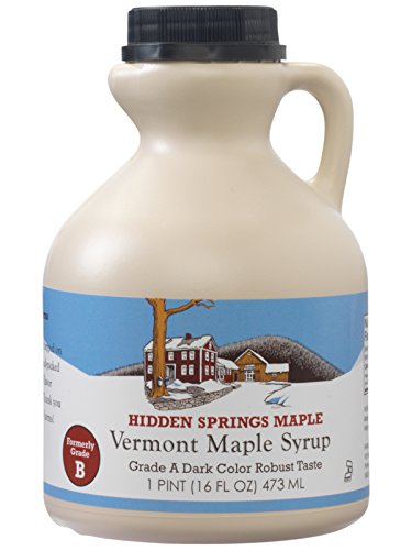 Hidden Springs Maple Natural Vermont Syrup, Dark Robust (Formerly Grade B), 16 Ounce