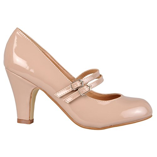Brinley Co Womens Mary Jane Patent Faux Leather Pumps (6.5 M US, Blush)