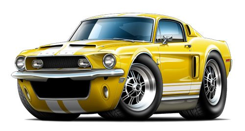 GF 1968 Shelby gt500 Fastback WALL DECAL 2ft long Car Sport Classic Graphic Sticker Man Cave Garage Boys Room Decor