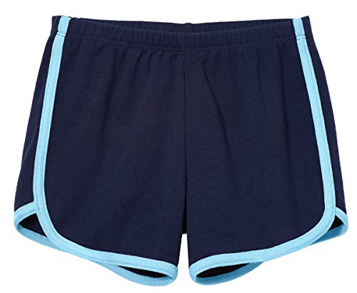 City Threads Girls Running Workout Shorts Yoga Sport Fitness Short Retro Dolphin Short Summer Lounge Gym Play Beach Park SPD Clothing, Navy/Bright Light Blue Trim, 10