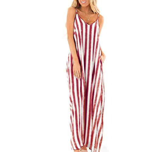 Dresses for Women Casual Summer Maxi Sexy V-Neck Spaghetti Strap Striped Flowy Plain Long Beach Dress Red