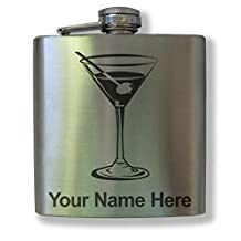 Personalized Stainless Steel Flask - Martini - Laser engrave your name for FREE.