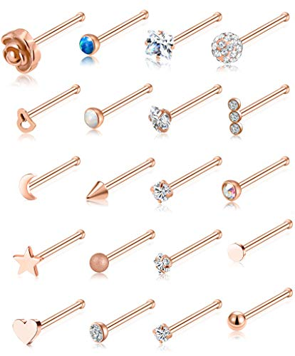 Tornito 20G 20Pcs Nose Ring CZ Nose Stud Retainer Bone Labret Nose Piercing Jewelry Set Stainless Steel Rose Gold Tone