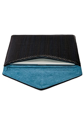 15'' Braided Black Leather MacBook Cover for 15'' Air, Retina HANDMADE / POETIK Real Braided ()