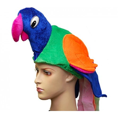 Blue Macaw Bird Costume (Adult Parrot Bird Hat Costume Accessory - Blue Orange Purple Green)